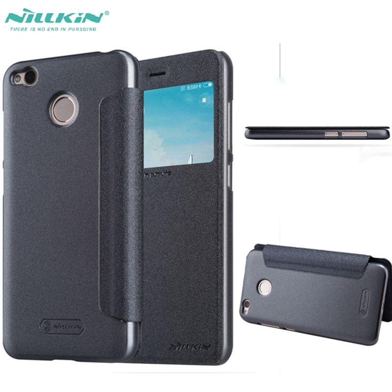 Pour Xiaomi Redmi 4X Cas En Cuir Flip Téléphone Sacs Pour Redmi 4X Couverture De Nillkin Étincelle Série Fenêtre d'affichage En Plastique Portefeuille Fundas