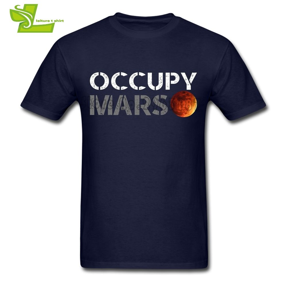 Elon Musk Occupy Mars T Shirt Male Latest Unique Tee Shirts Customized Loose T-Shirts Men's Summer 100% Cotton Cheap Dad Tees