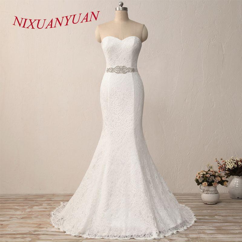 NIXUANYUAN nouveau élégant blanc ivoire dentelle robe De mariée sirène robe De mariée 2019 Vintage pas cher vestido De noiva avec ceinture en Stock