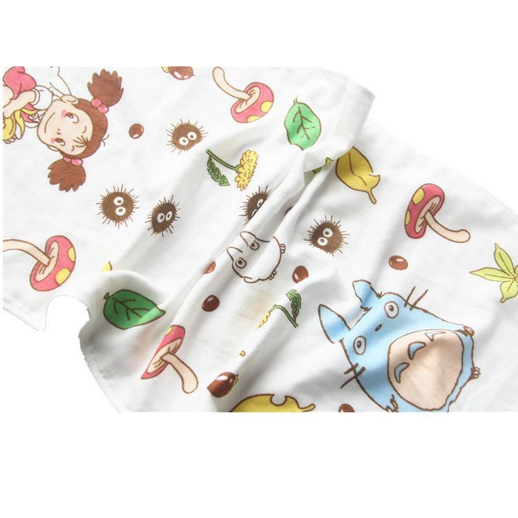 2 unids/lote japón gasa pura toallas de rizo de algodón Hayao Miyazaki de impresión Totoro cara toallas recién nacido / niño / productos infantiles
