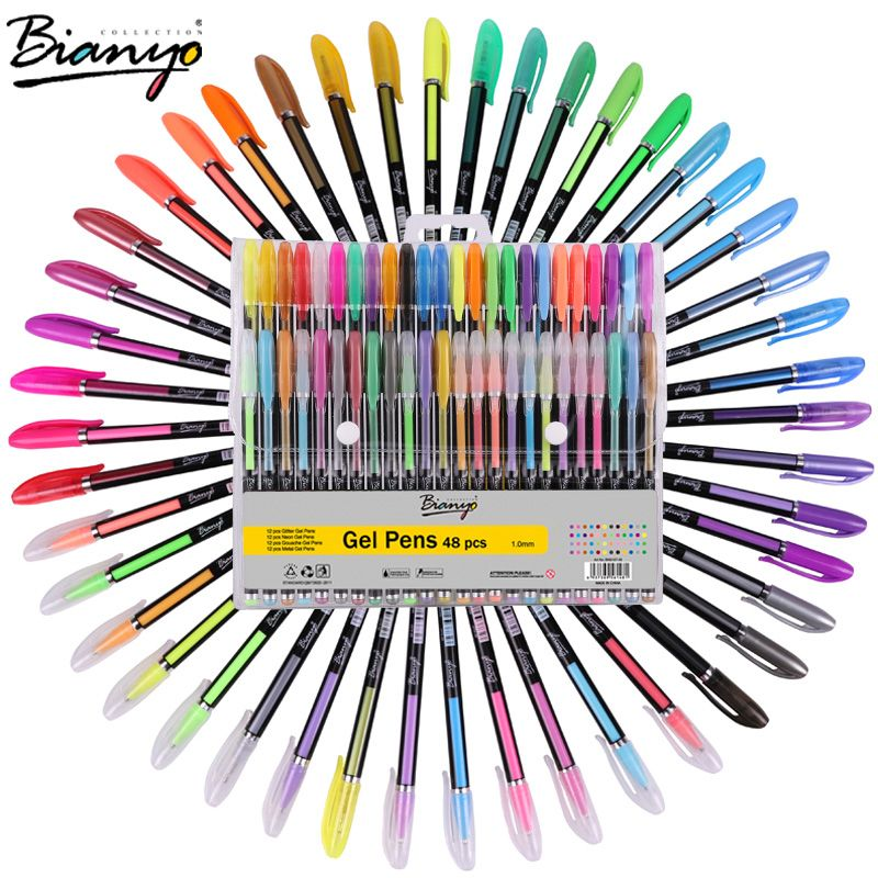 Bianyo 48pcs Gel Pen Set Refills Metallic Pastel Neon Glitter Sketch Drawing Color Pen School Stationery Marker for Kids Gifts