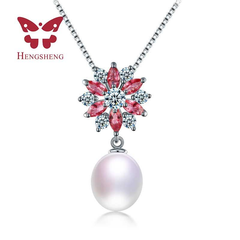 Top Quality AAAA 9-10mm white pink purple black pearl pendants, 2017 New Arrival Freshwater Natural Pearl Pendant&Necklace 2018