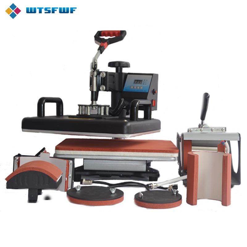 Wtsfwf 30*38 cm 6 dans 1 Combo Presse de La Chaleur Imprimante 2D Imprimante à Transfert Par Sublimation pour Cap Tasse T-shirts plaques D'impression