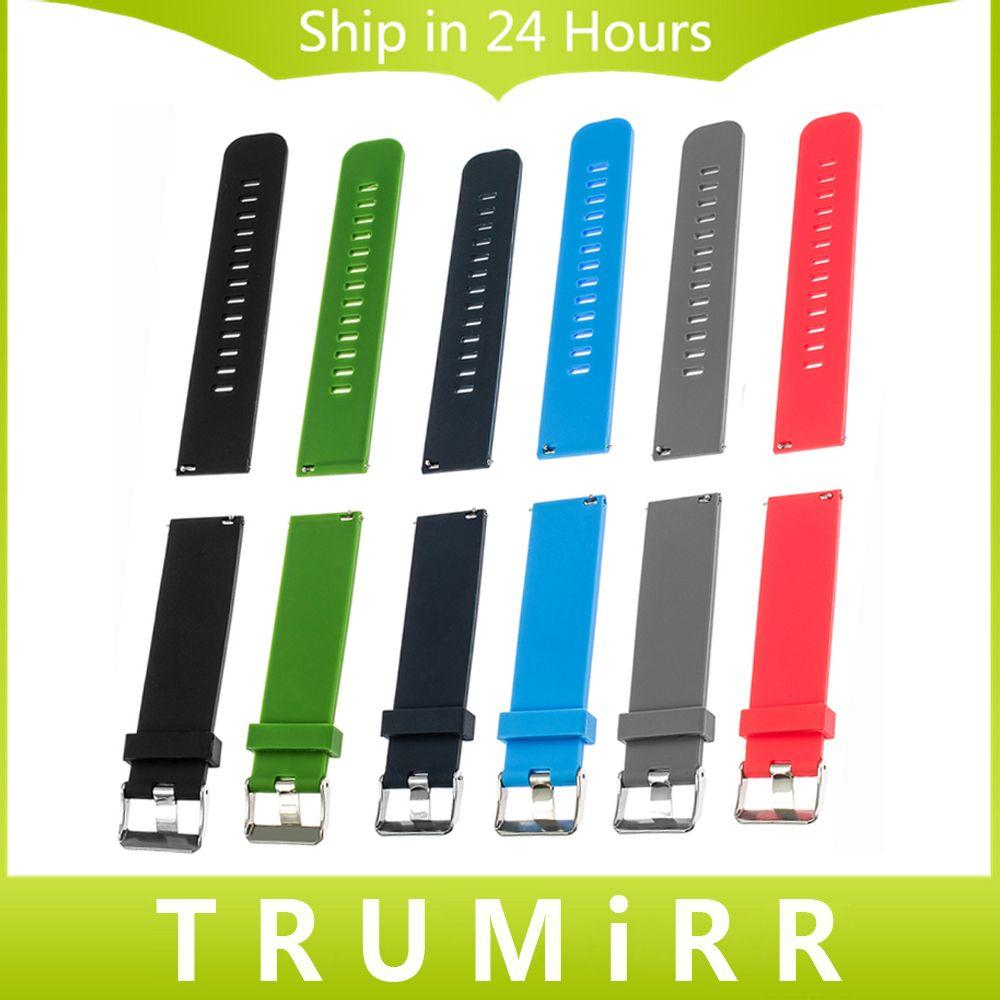 Silicone Caoutchouc Bracelet Libération Rapide Bande de Montre 17mm 18mm 19mm 20mm 21mm 22mm Universelle bracelet Poignet Bracelet Noir Bleu Rouge