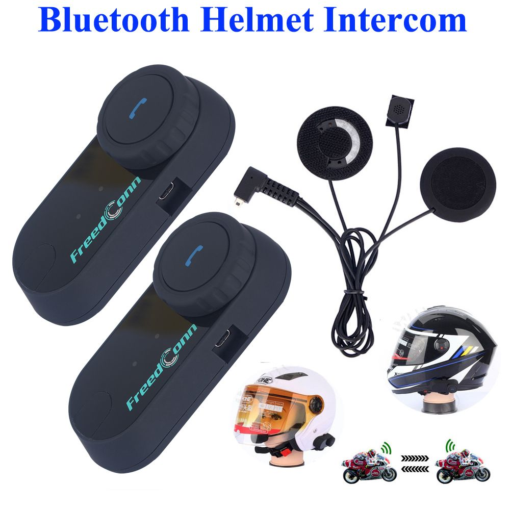2Pcs Freedconn 800M Interphone Headset Motorcycle Intercom Walkie Talkie With FM Radio Bluetooth Motorcycle Helmet Intercom