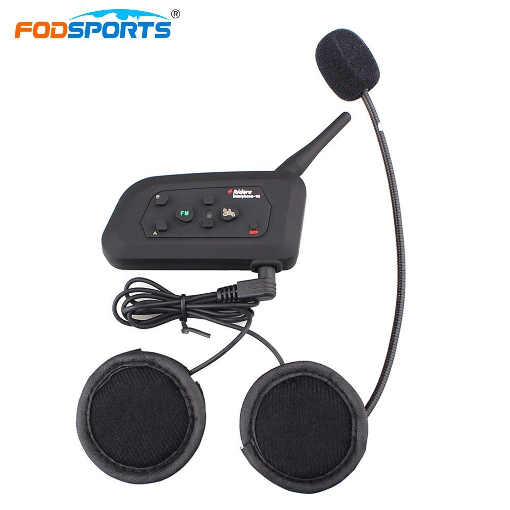 Fodsports V4 Intercom Helmet Headsets Bluetooth 3.0 Wireless Interphone 4 riders Talking Handsfree Max 1200M With FM Radio