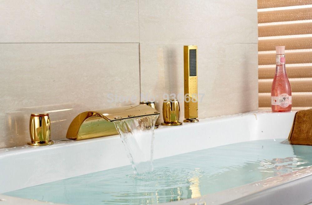 Gold Polnischen Badewanne Wasserhahn Drei Griffe Mischbatterie Mit Handbrause Arbeitsplatte