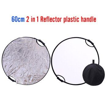 CY silver + white 60cm 24'' Round Portable Studio Photo reflector handhold multi Collapsible Photographic Lighting Reflector