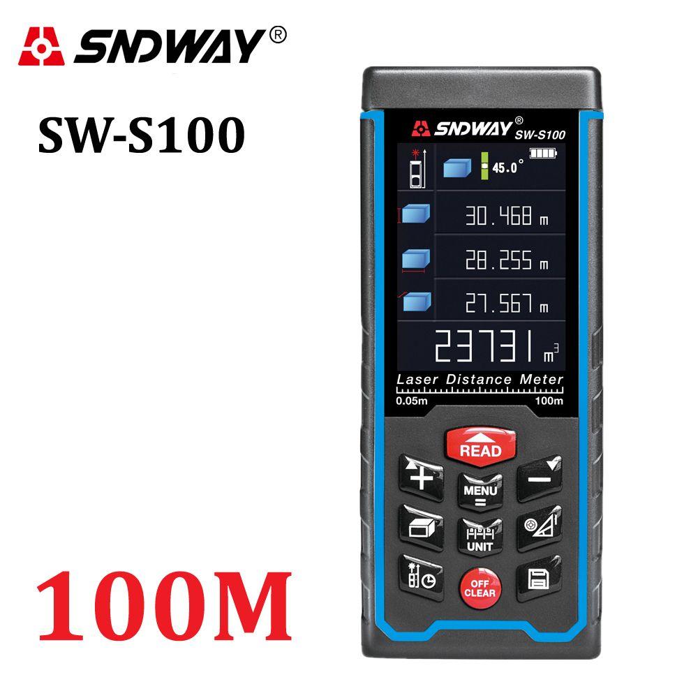 SNDWAY Haute-précision Numérique télémètre Laser Couleur affichage Rechargeabel 100 m Laser Range Finder distance mètres ruban à mesurer