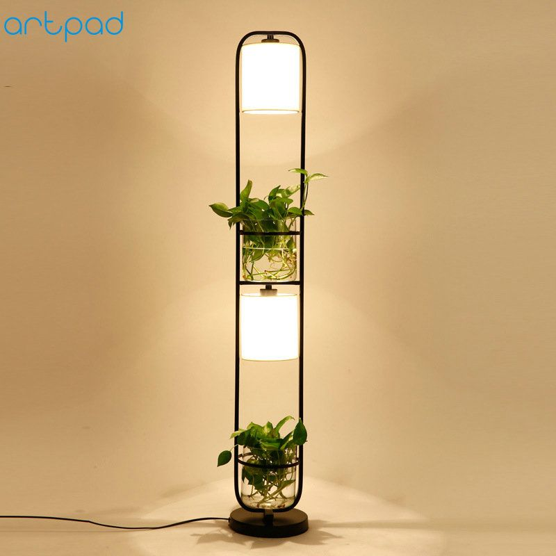 Artpad Modern Chinese Decoration Plant Flower Floor Lamp Fabric Lampshade Glass Study Stand Floor Light AC110V-220V