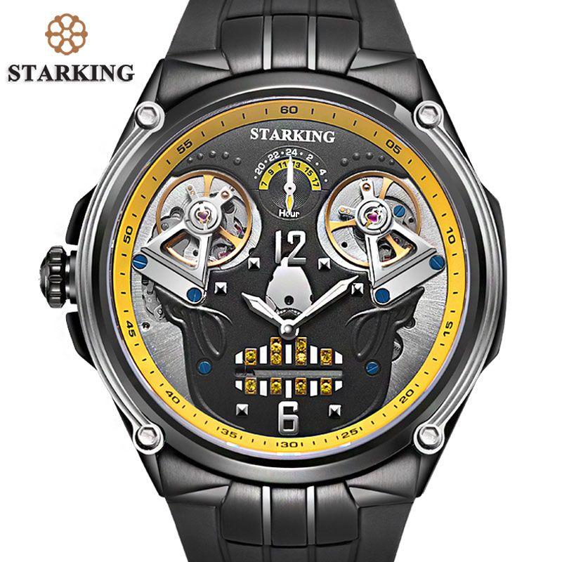 STARKING xfcs 2017 Waterproof Watch For Men Original Man Relogio Masculino Silicone Strap Double Automatic Tourbillion Men Watch