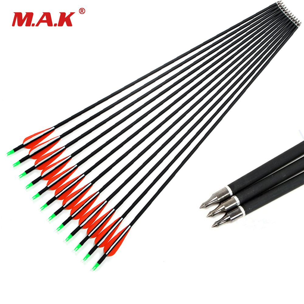 12pcs Spine 500 Carbon Arrow With Replaceable Arrowhead 30 Inches Length for Compound/Recurve Bow Archery Hunting