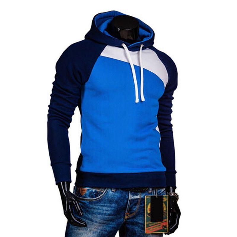 Lasperal Slim HOODIE y sudadera Masculino 2017 primavera otoño caliente turn-Down collar negro azul gris patchwork bodybuilding sombrero