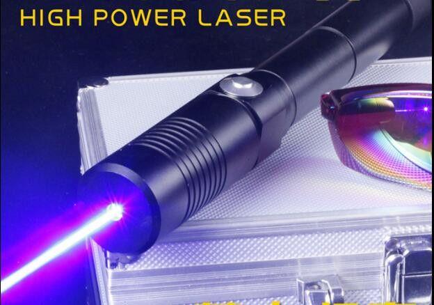 Forte puissance militaire 500000 m bleu laser pointeur 450nm 500 w LAZER allumette bougie cigarette allumée méchants lazer torche chasse