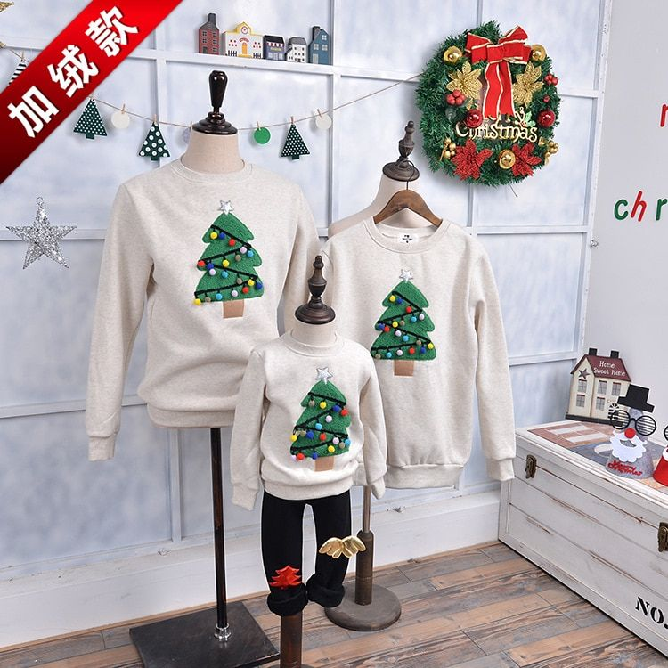 Children children's clothing and cashmere Crewneck winter sweater family Christmas tree ornaments