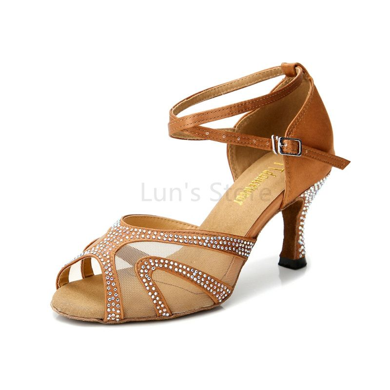New Rhinestone Nude Black Blue Tan Silver Wedding Salsa Tango Ballroom Dance Shoes Latin Dance Shoes Salsa Dancing Shoes DS332