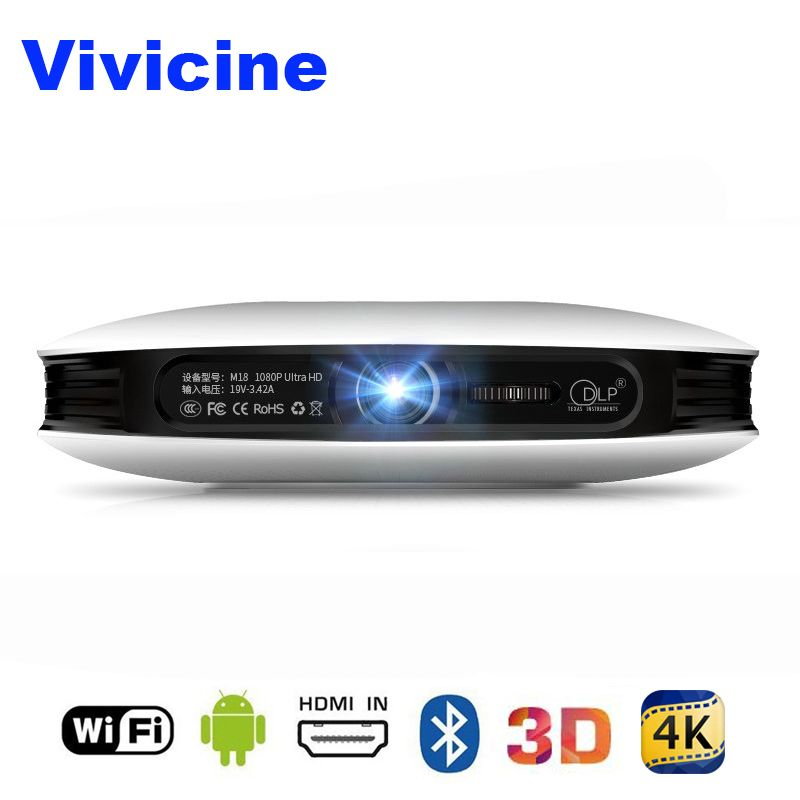 Vivicine 1080 p 3D 4 karat Projektor, android WIFI HDMI USB Full HD Mini PC Spiel Heimkino Kino Proyector 12000 mah Batterie Beamer