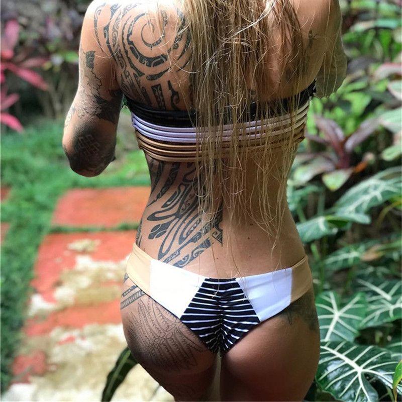 2018 Nouveau Bikini Sexy Femme Maillot De Bain Taille Basse Maillots de Bain Bikini À Épaules Dénudées Ensemble Maillots De Bain Évider Bandeau Supérieur