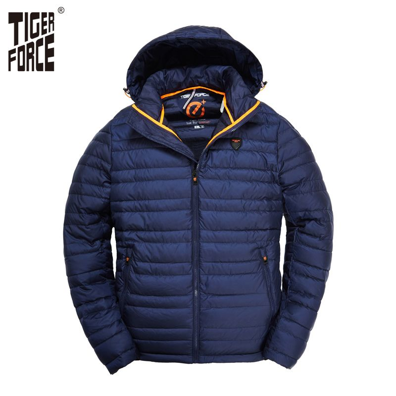 TIGER FORCE 2018 Hommes Veste Printemps Mode Coton Rembourré Manteau avec Sweat À Capuche Solide Couleur Amovible À Capuche Hommes de Survêtement Parka