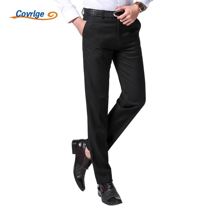 Covrlge Men Pants Fashion High Quality Straight Spring New Long Male Classic Business Casual Trousers Full Length Mid MKZ003