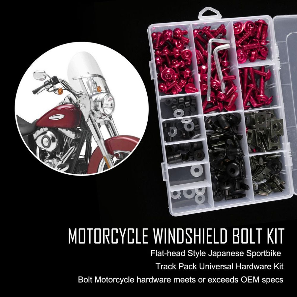 223psc/case New Complete Motorcycle Windshield Fairing Bolts Nuts Screws Washer Kit Fastener Clips Screws Aluminum Drop shipping