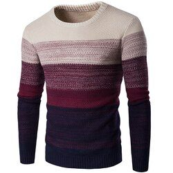 NIBESSER Brand Casual Sweater O-Neck Striped Slim  Men Long Sleeve Patchwork Male Pollover Sweater Thin Clothes agasalho masc