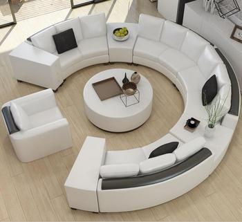Ronde en cuir de grain supérieur canapé personnalisé creative mode salon canapé combinaison de moderne courbe canapé en cuir salon canapé
