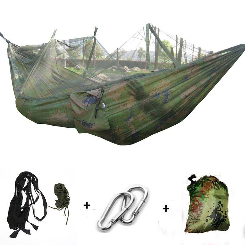 Camping hamac moustiquaire Portable extérieur jardin voyage balançoire toile rayure accrocher lit hamac 260*130cm
