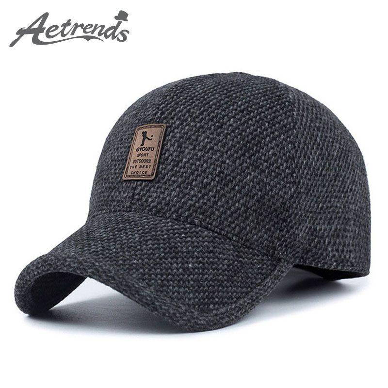 [AETRENDS] feutre de laine tricoté conception hiver casquette de Baseball hommes épaissir les chapeaux chauds avec des oreillettes Z-5000