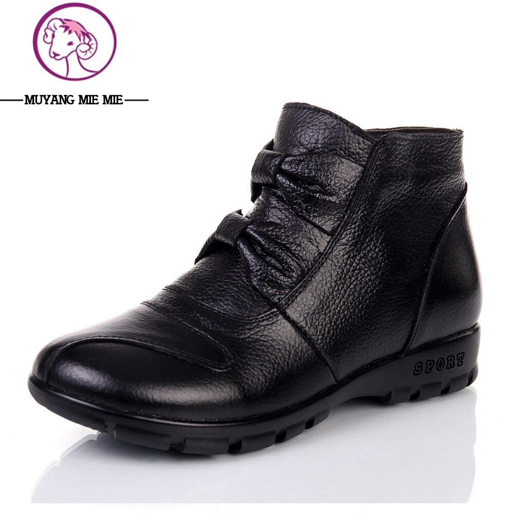 Size 35-41 Genuine Leather Boots Women Comfortable Ankle Boots Flat Casual Black Boots Warm Winter Boots Thermal Female Shoes