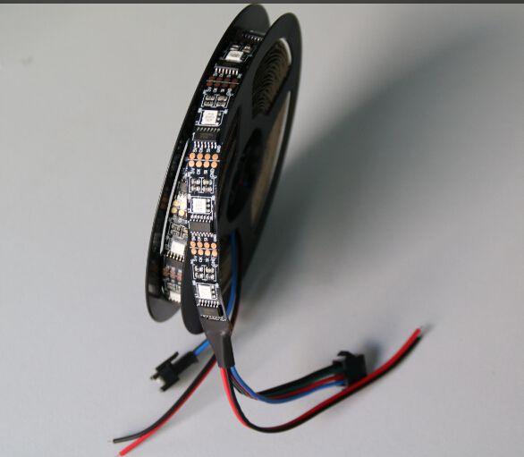 1 M livraison gratuite 32 LED s/M noir/blanc PCB WS2801 individuel adressable RGB bande LED couleur Non-étanche