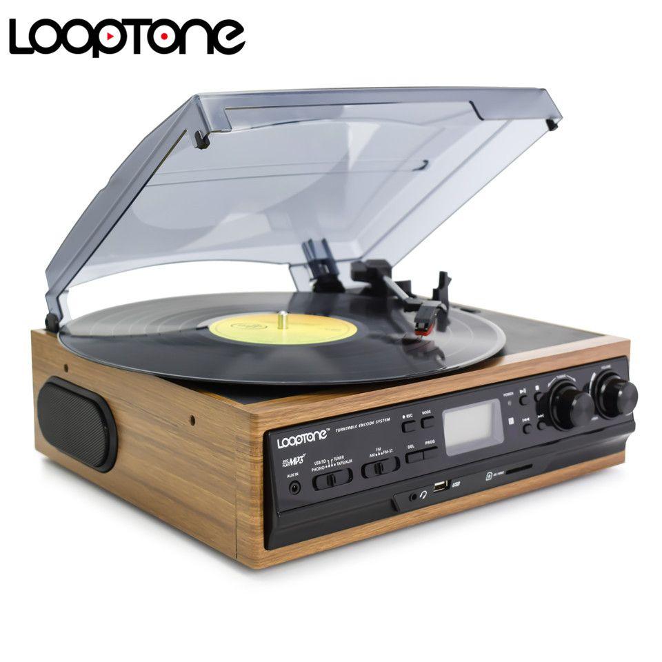 Platine vinyle LoopTone USB lecteur de disque 2 haut-parleurs intégrés platines avec Cassette Radio AM/FM enregistrement LP