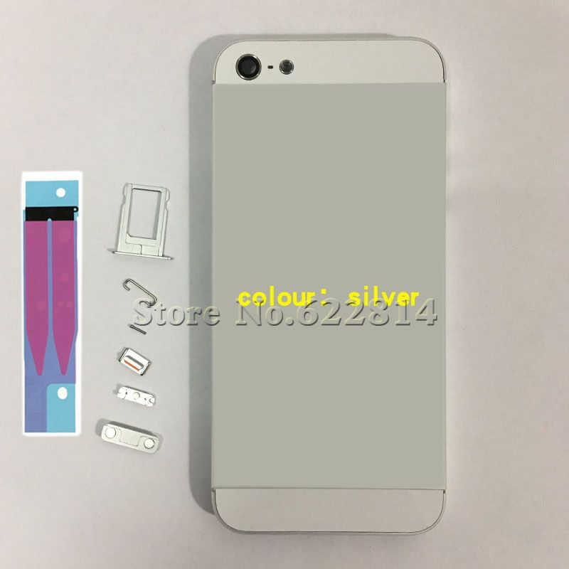 full Housing Assembly For iPhone 5S 5g Back door Battery  Case Rear cover with key with battery paste button Replace Supporting