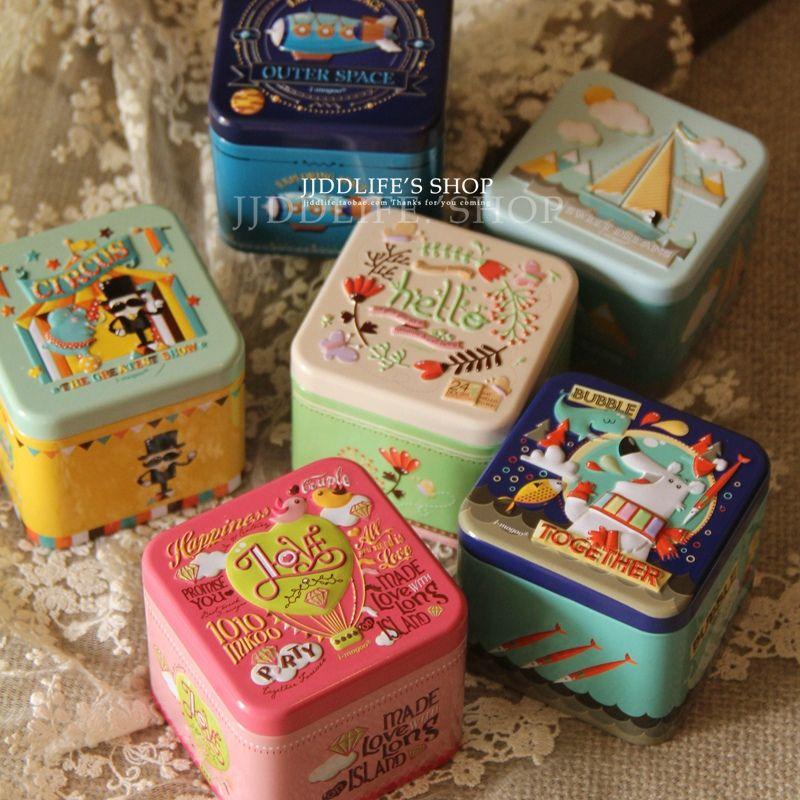 6 шт./лот жестяная коробка ZAKKA сахар Чай Кофе разное закуски чехол для хранения коробка конфет трехмерный рельеф size7.5x7.5x6.5cm
