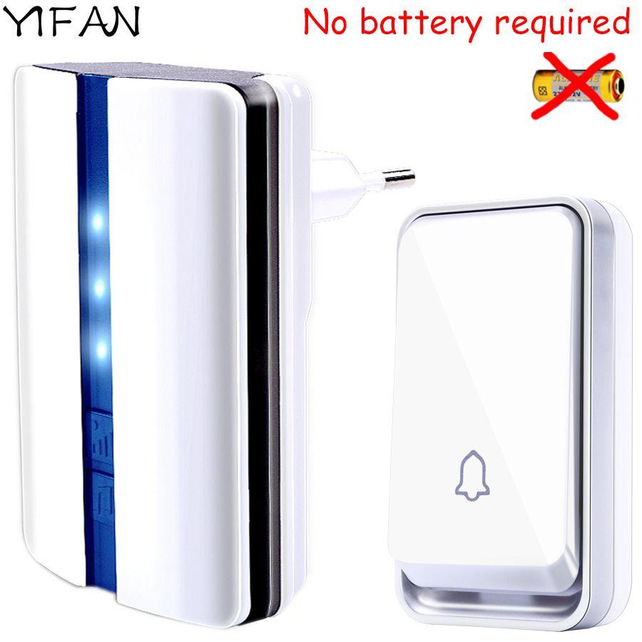 YIFAN nouvelle sonnette de porte sans fil étanche auto-alimenté sans batterie prise EU sonnette intelligente 1 2 bouton 1 2 récepteur sourd vieil homme