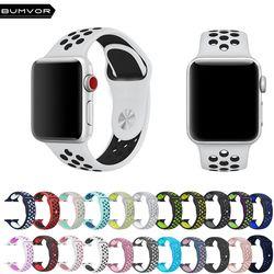 Bumvor Olahraga Tali Silikon untuk Apple Watch Saya Jam Tangan Band 40/44/42/38 Mm untuk IWatch 1 2 3 4 Band Pria Karet Gelang dengan Adaptor