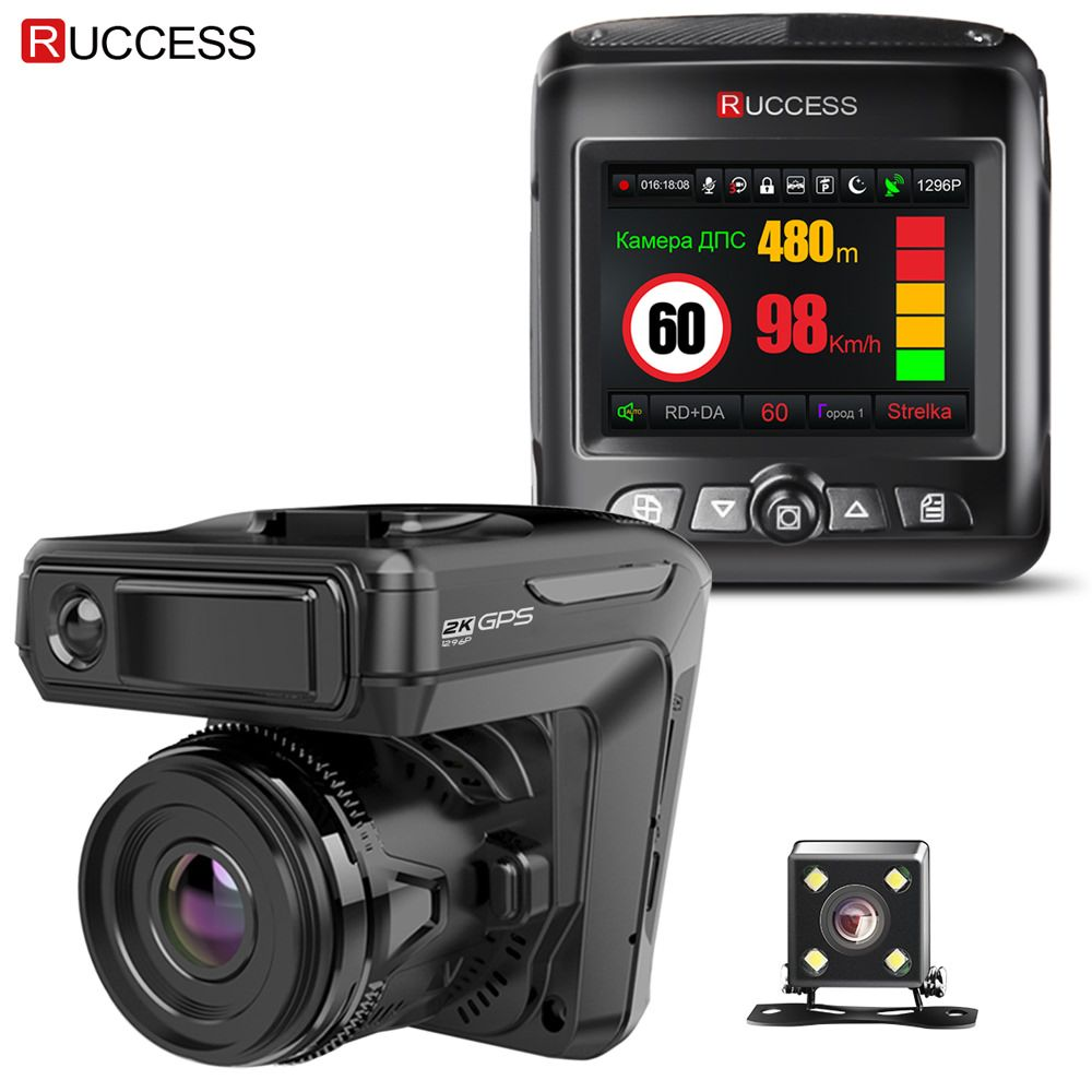 Ruccess STR-LD200-G 3 in 1 Car DVR Radar <font><b>Detector</b></font> Laser With GPS Full HD 1296P 1080P Dual Recorder Dash Camera Front and Rear