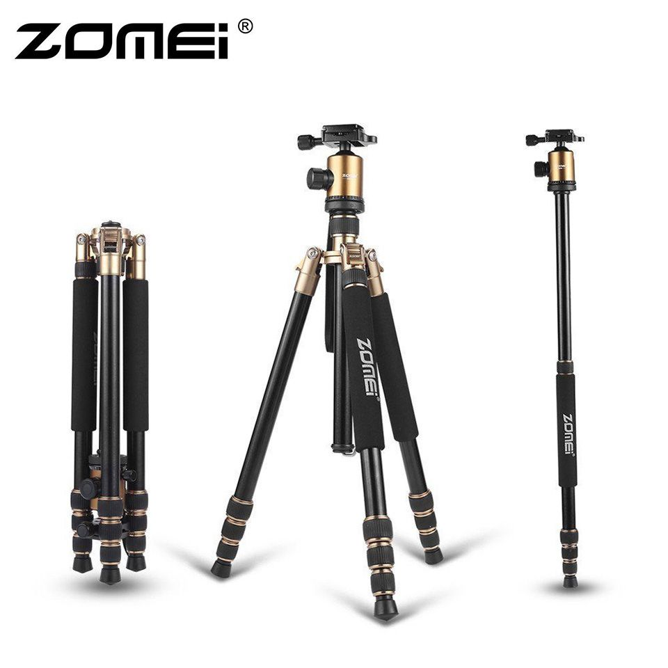 ZOMEI Z818 Protable Aluminum Magnesium Aolly Tripod Travel Camera Tripod with Ball Head Monopod Flexible For DSLR Video Camera