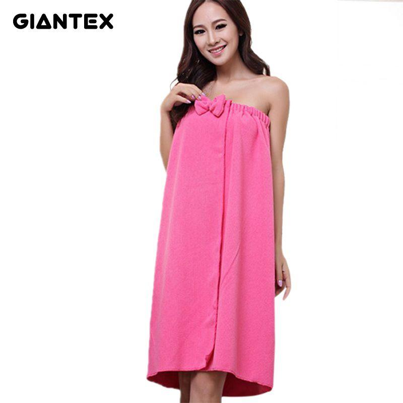 GIANTEX Sexy Women Microfiber Bath Towel Bath Robe Bathrobe Body Spa Bath Bow Wrap Towel Super Absorbent Bath Gown U0986