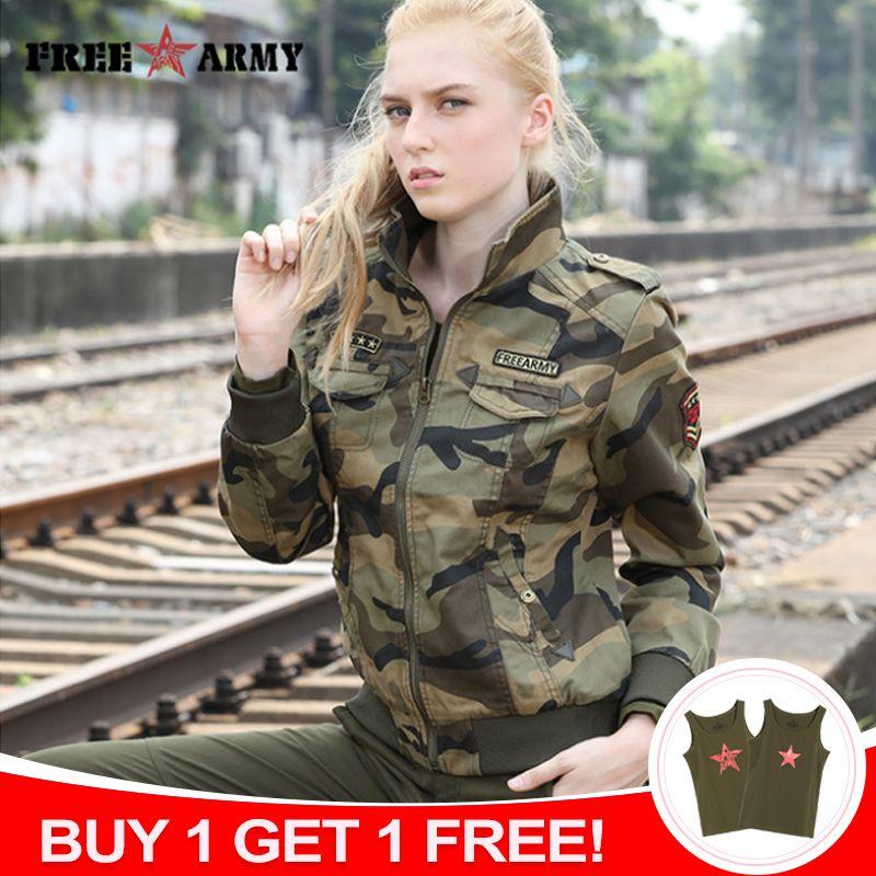 FreeArmy marque automne vestes femmes nouvelle veste en Denim femme Camouflage automne vestes pour femmes manteau Bomber veste Camo grande taille