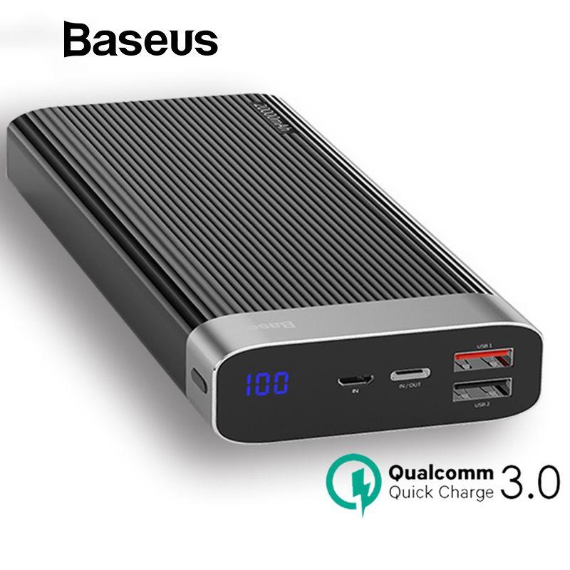 Baseus Puissance Banque 20000 mah USB Type C PD + QC3.0 Rapide Chargeur LED Affichage Batterie Pour Mobile Téléphone Externe batterie LED Powerbank