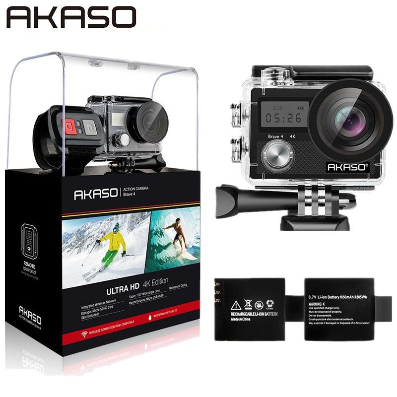 AKASO Brave 4 WIFI 4K Outdoor Action Camera HD Waterproof Camcorder Diving Underwater Bike Helmet Video Cam for Extreme Sports