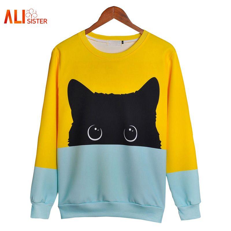 Alisister Cute Cat Hoodies 3d Sweatshirt Women Men Kawaii Black Cat Hoody Animal Autumn Winter Pullovers Funny Dropship