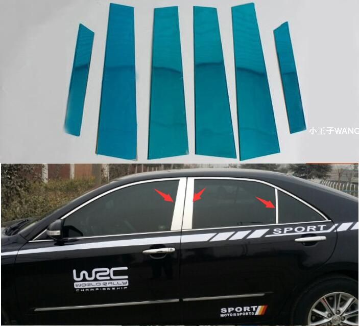 Car styling For Toyota Camry 2007 2008 2009 2010 2011 6pc Set Door Trim Kit Stainless Steel Chrome Pillar Posts