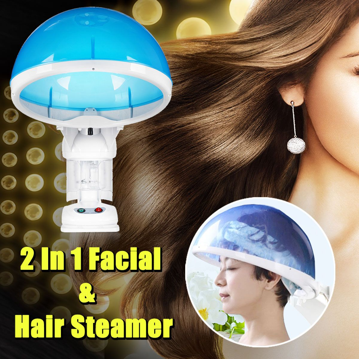 Facial & Hair Steamer 2 in 1 Table Hot Steam Fog Top Ozone Aroma Hair Moisture Salon 110V/220V Temperature Controller Absorption