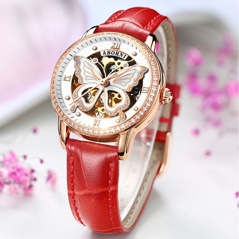 Creative Butterfly Mechanical Women Watches Rose Gold Hollow Lady Clock Rhinestones Diamand Female Automatic Self-Wind Watch