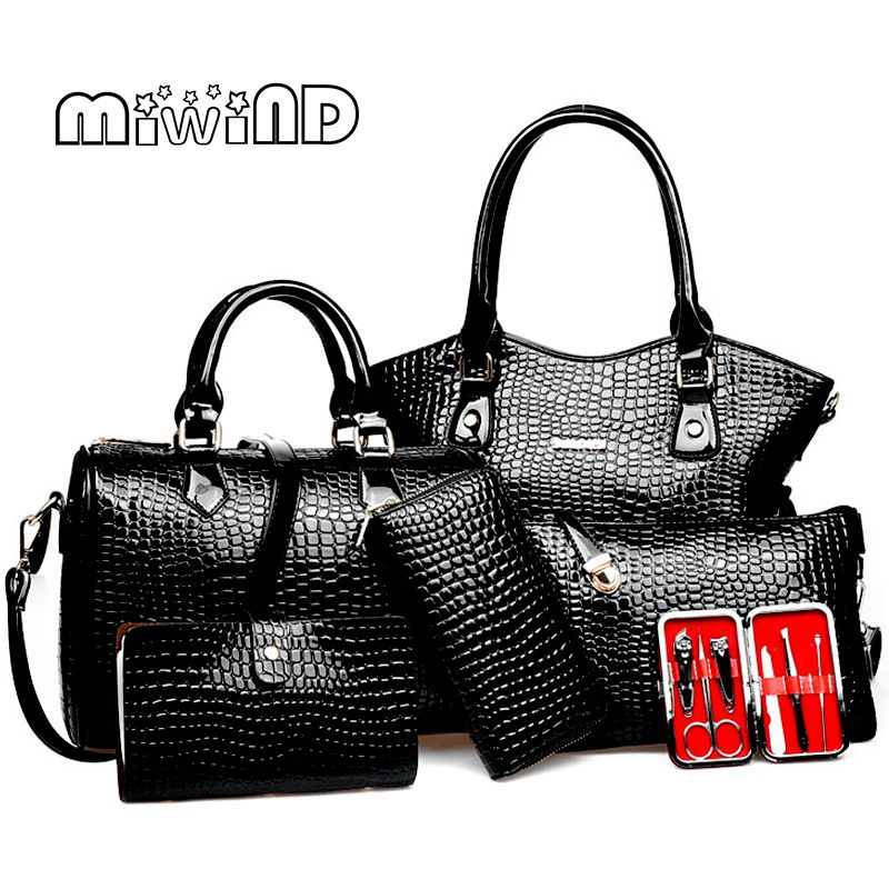 2018 New Women bag Leather Handbags Fashion Shoulder Bags Female Purse High Quality Six-Piece Set Designer Brand Bolsa Feminina