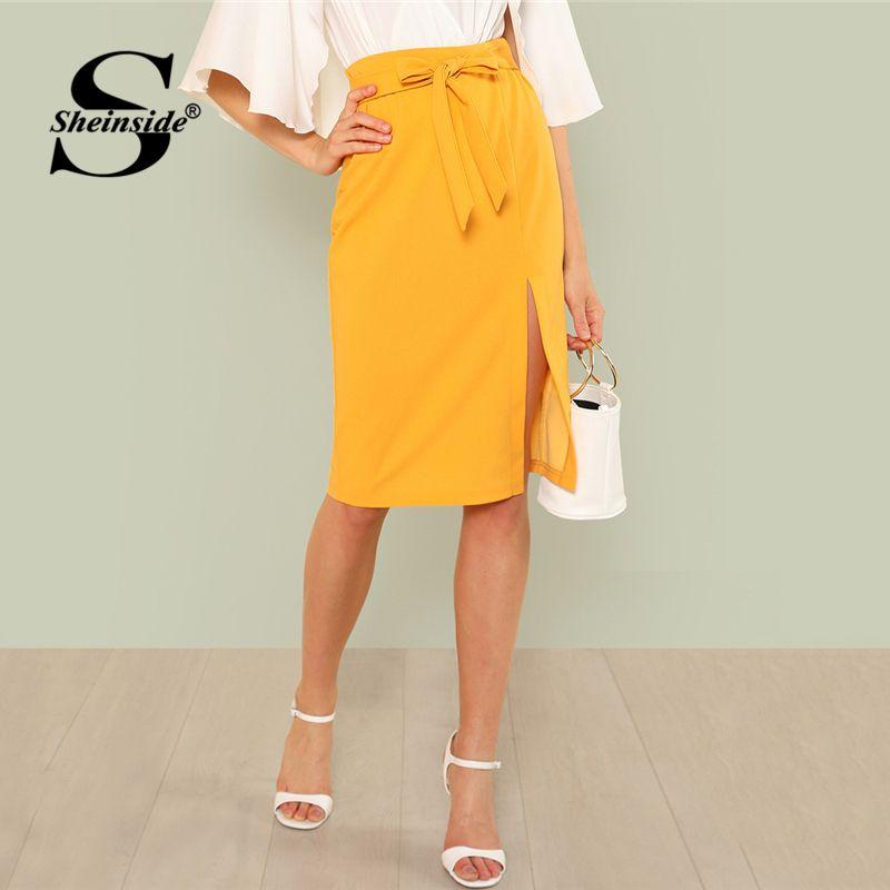 Sheinside Tie Waist Split Pencil Skirt Yellow Knee Length Mid Waist Sheath Skirt Women Summer Plain Casual OL <font><b>Work</b></font> Skirts
