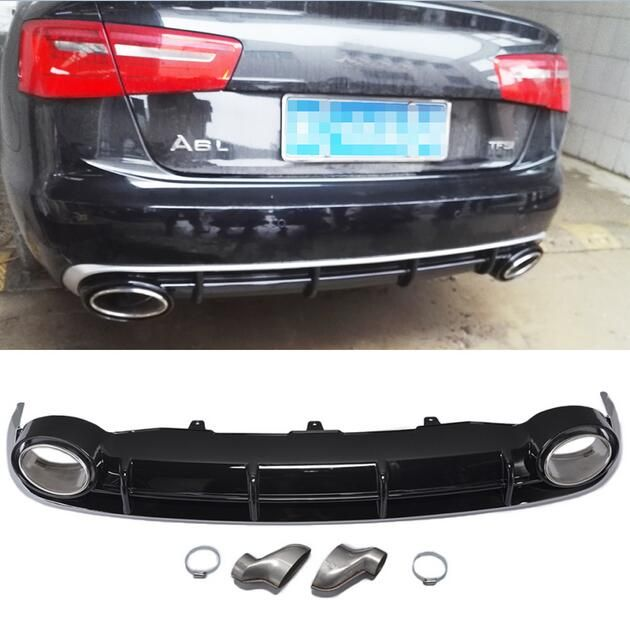 A6 Rear Bumper Lip Diffuser With Exhaust Muffler Pipe for Audi A6 Standard Bumper 2012-2015 RS6 Style