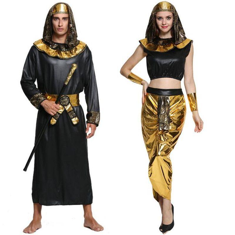 Hombres Mujeres Egipto Faraón Amantes Cosplay Adultos Trajes de Rendimiento Fiesta de Disfraces de Halloween Vestido de Suministros
